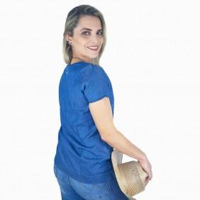 T Shirt Zenz Western Wish Jeans com Pedras de Strass
