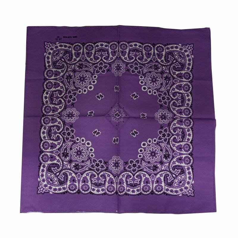 Bandana em Tecido com Estampa Floral Lilás