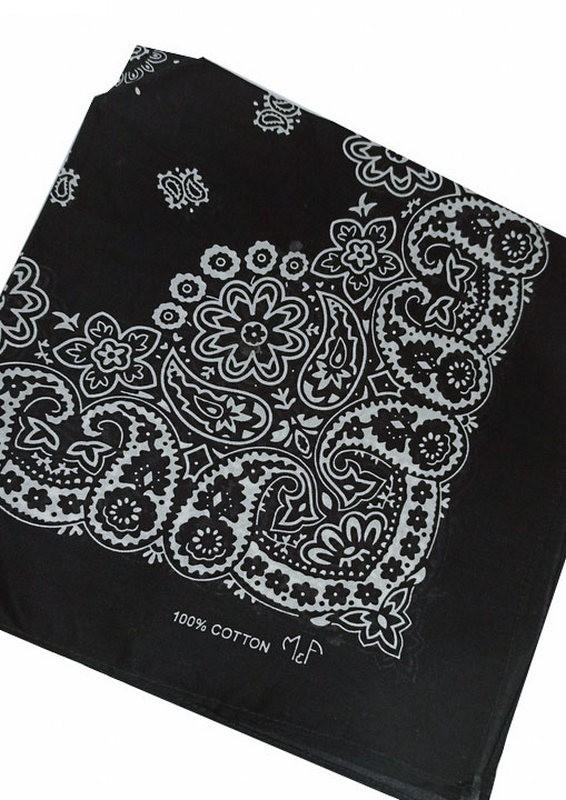 Bandana em Tecido com Estampa Floral Preto