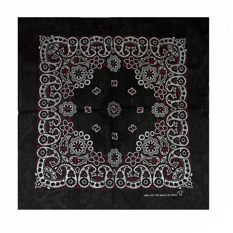 Bandana em Tecido com Estampa Floral Preto com Detalhe Vermelho