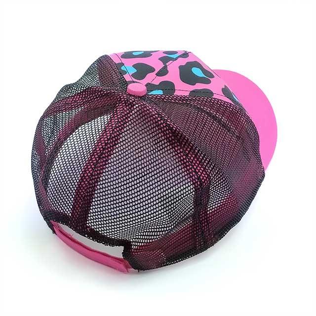 Boné Ariat Importado Feminino em Tela com Regulagem Velcro Leopard Cap Rosa e Preto