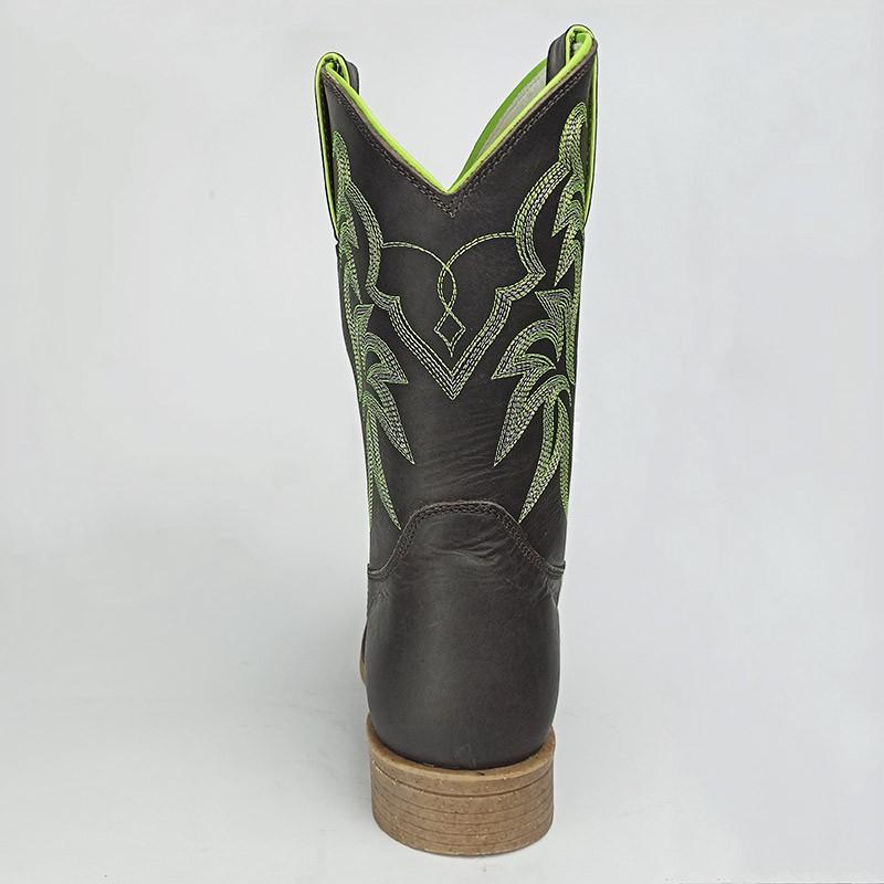 Bota Masculina Mr West Solado Colt Palha Bico Quadrado Verde