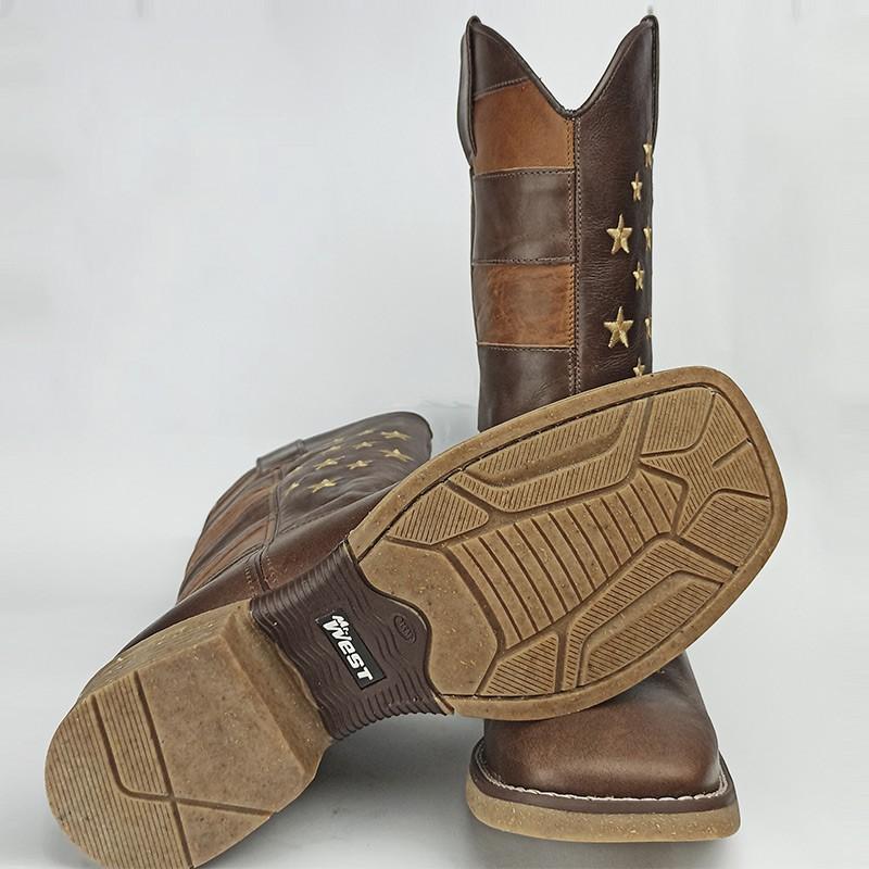 Bota Masculina Mr West Solado Colt Palha Quadrado Tabaco USA