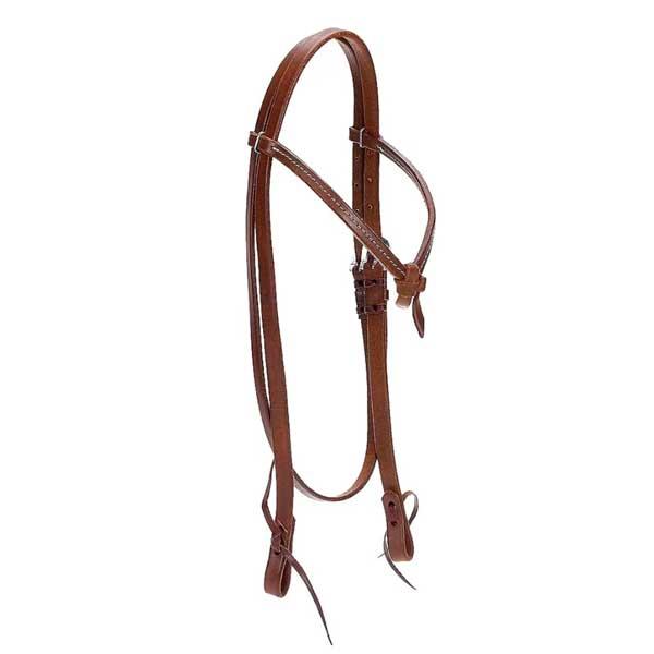 Cabeçada para Cavalo em Couro Liso e Testeira em Nó com Costura Top Equine