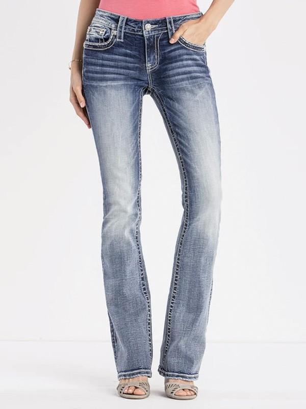 Calça Jeans Feminina Miss Me Light Wash Bootcut Embellished