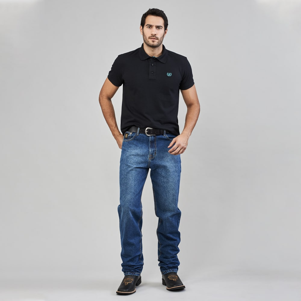 Calça Jeans Masculina Dock's Western Black Relaxed Fit