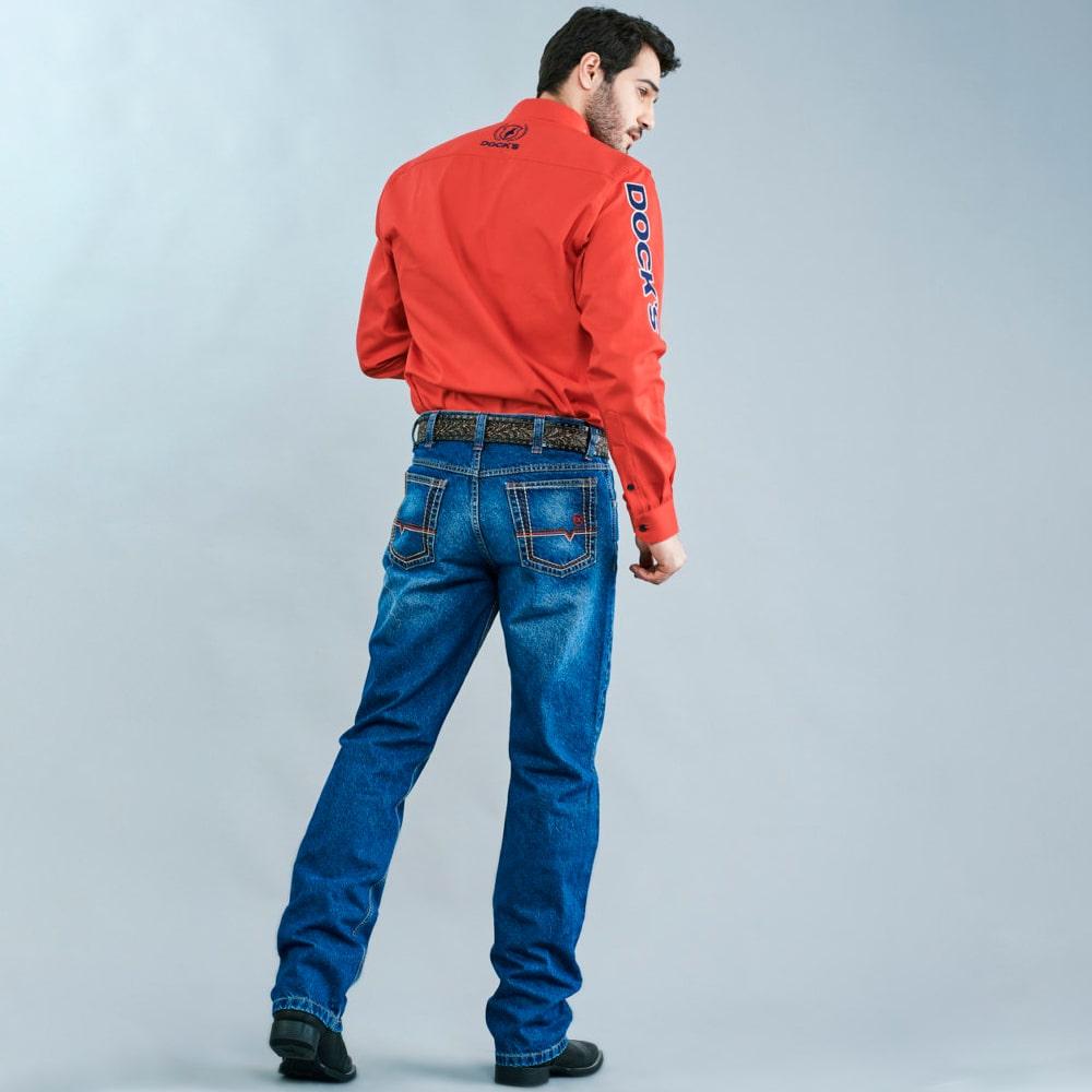 Calça Jeans Masculina Dock's Western SB Red Bordada