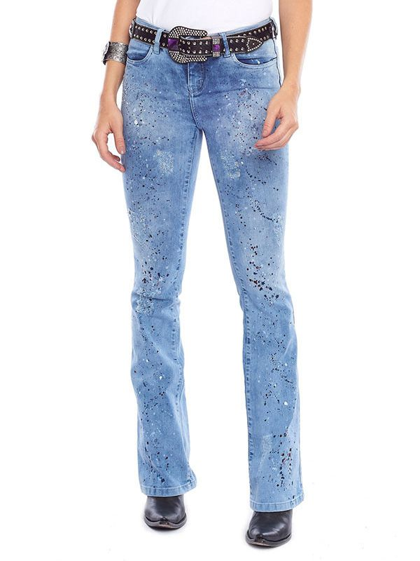 Calça Jeans Tassa Feminina Boot Cut Marmorizado