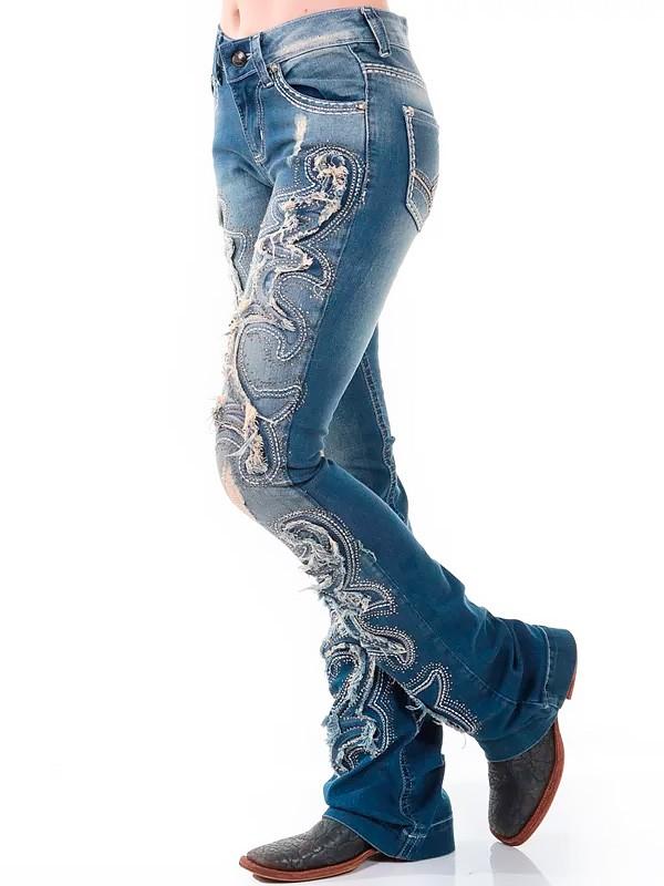 Calça Jeans Zenz Western Eastwood Feminina com Aplicação