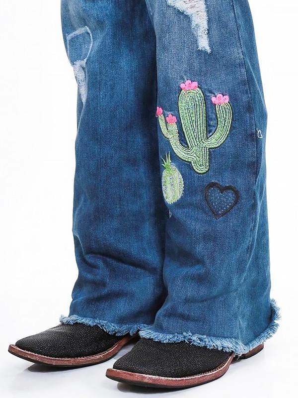 Calça Jeans Zenz Western Feminina com Trabalho Artesanal Funny