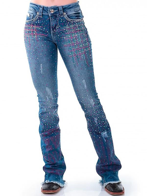 Calça Jeans Zenz Western Soul Feminina com Bordado e Pedras