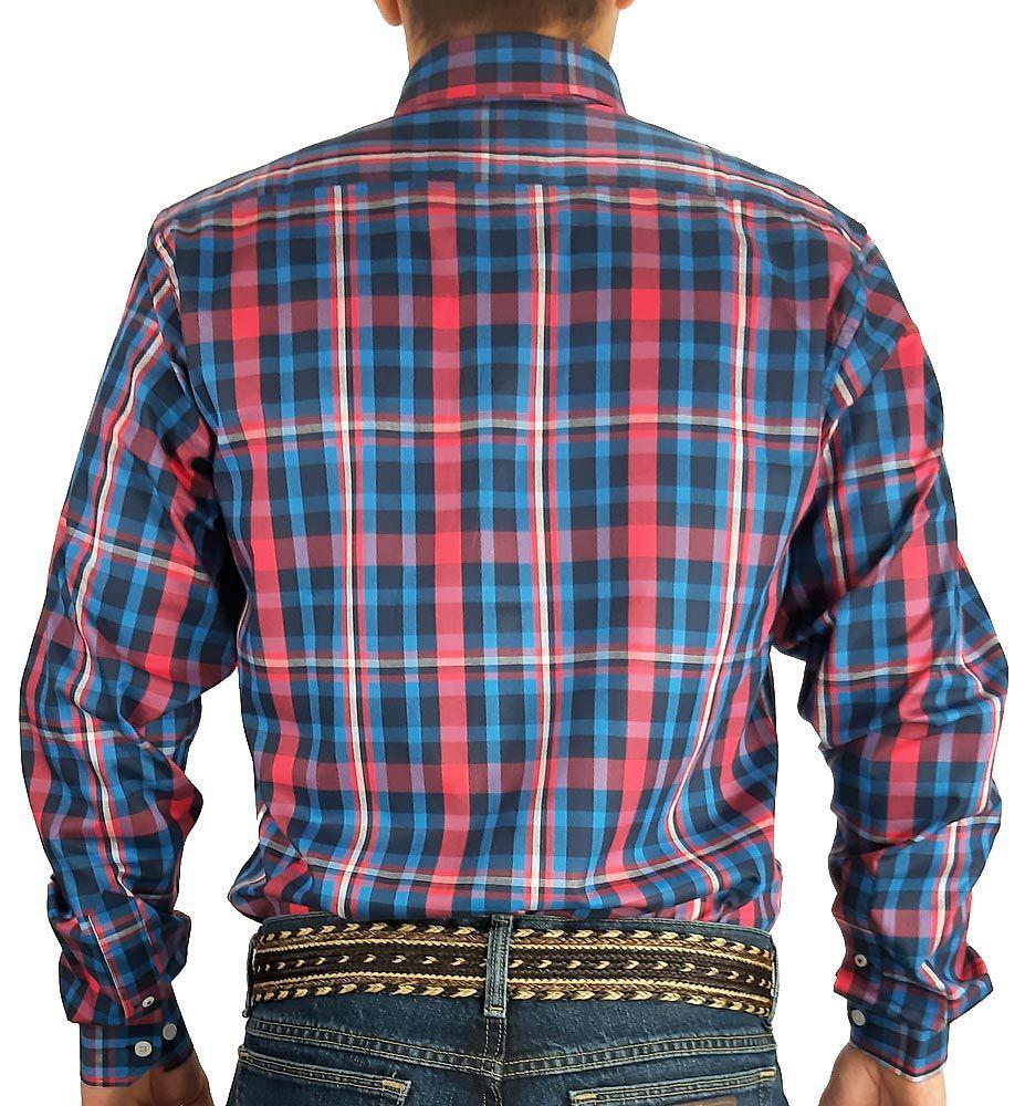 Camisa Austin Western Xadrez Manga Longa Slim Fit Rosa Azul