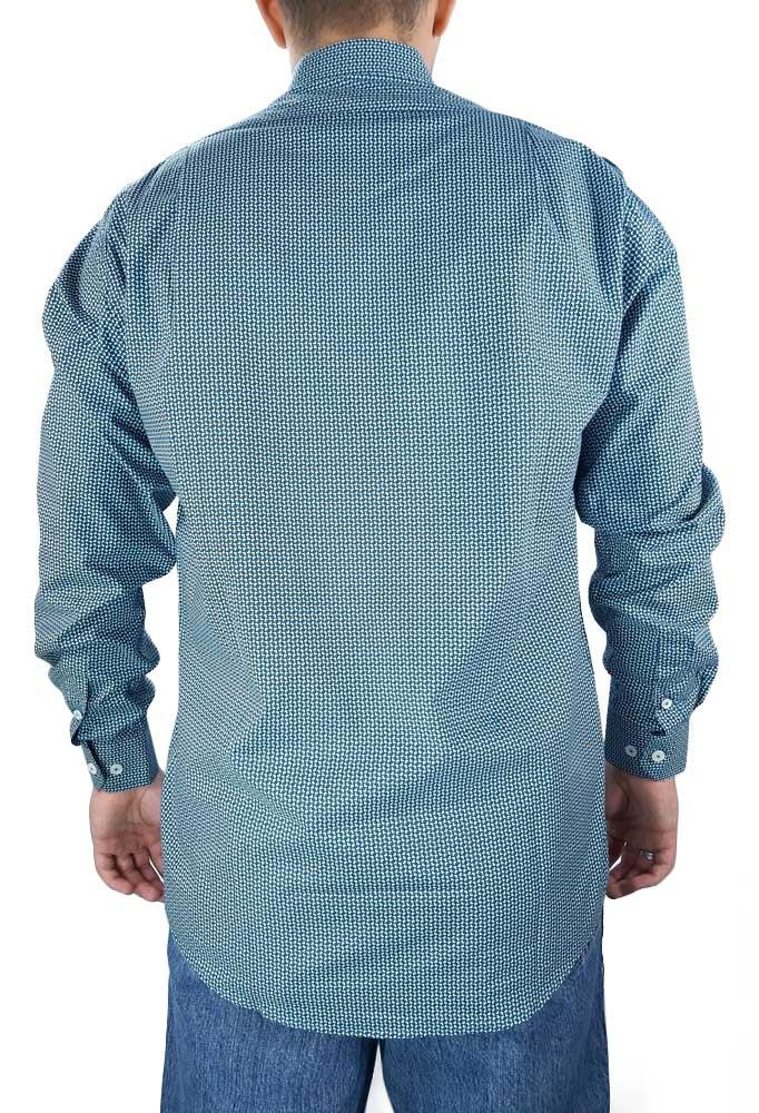 Camisa Estampada Masculina Fast Back M. Longa Verde Branco