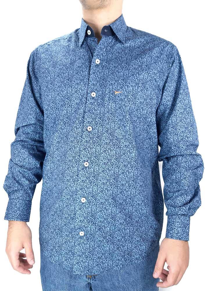 Camisa Estampada Masculina Fast Back Manga Longa Azul