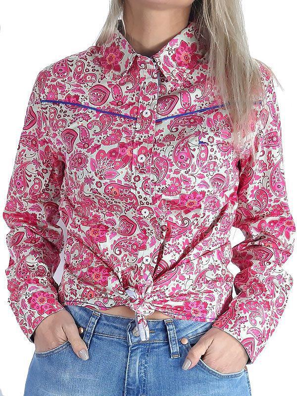 Camisa Fast Back Feminina Estampada com Flores Rosa e Manga Longa