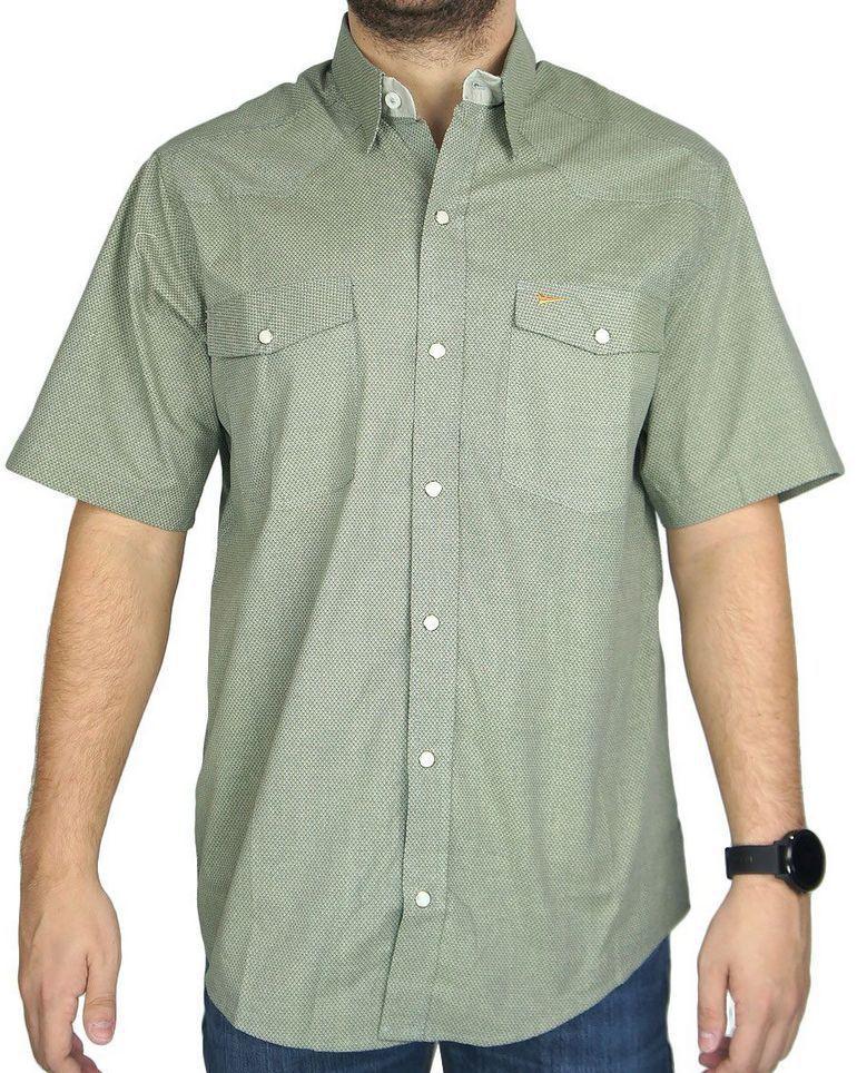 Camisa Masculina Fast Back Manga Curta Estampada Verde Musgo