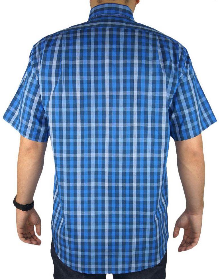 Camisa Masculina Fast Back Manga Curta Xadrez Azul