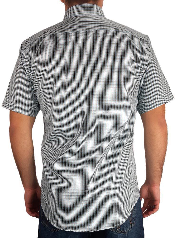 Camisa Masculina Slim Fit Austin Western Manga Curta Xadrez Verde Azul Preto