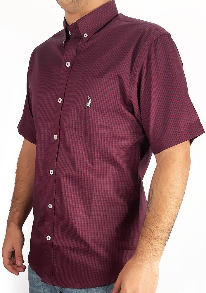 Camisa Masculina Slim Fit Austin Western Manga Curta Xadrez Vermelho Preto