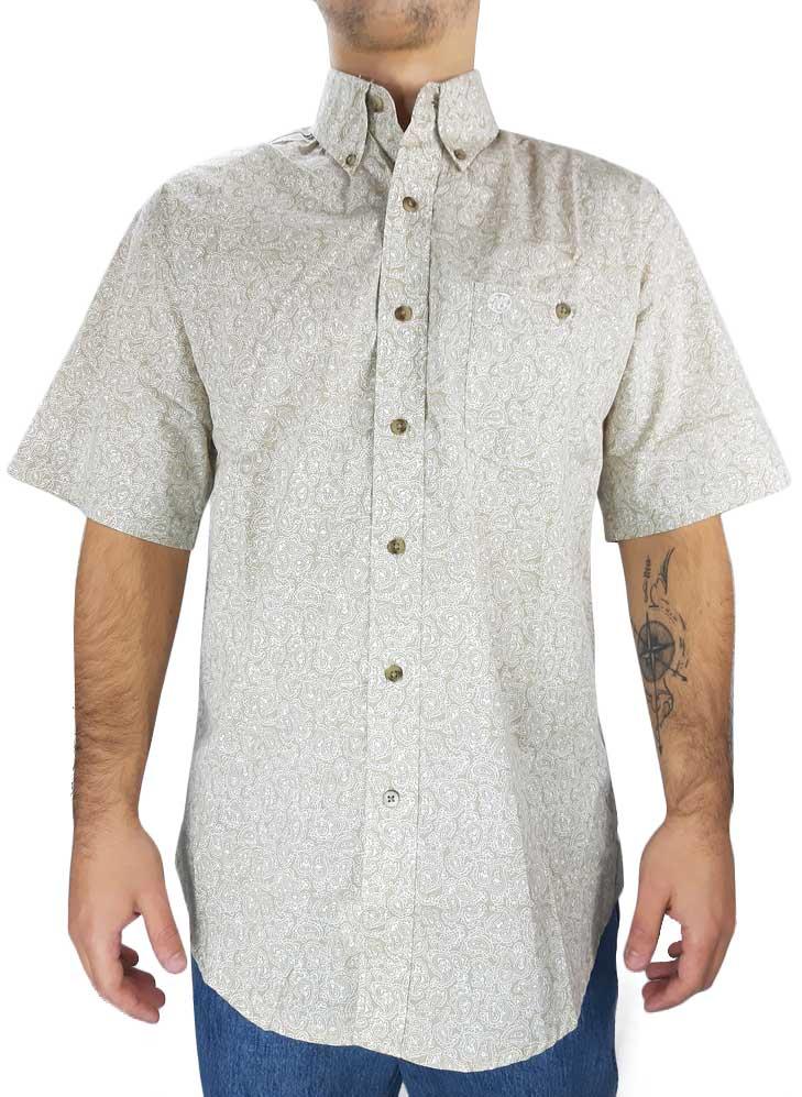 Camisa Masculina Wrangler Estampada Manga Curta Importada Bege
