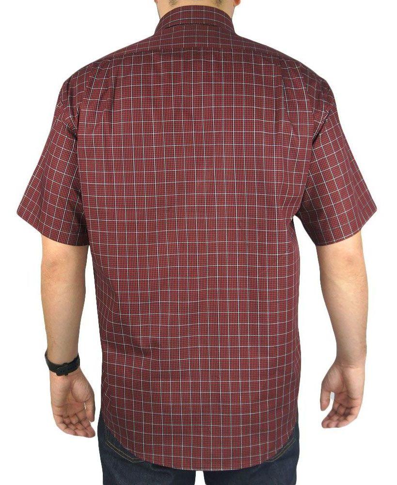Camisa Masculina Xadrez Fast Back Manga Curta Vermelho Branco Preto