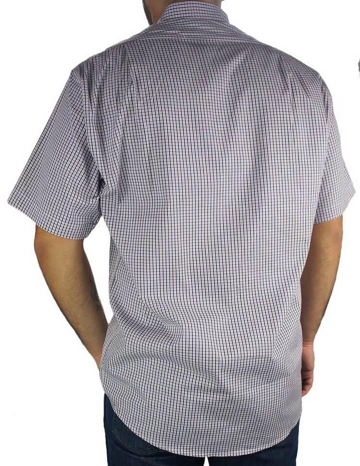 Camisa Xadrez Masculina Fast Back Manga Curta Branco Rosado Azul