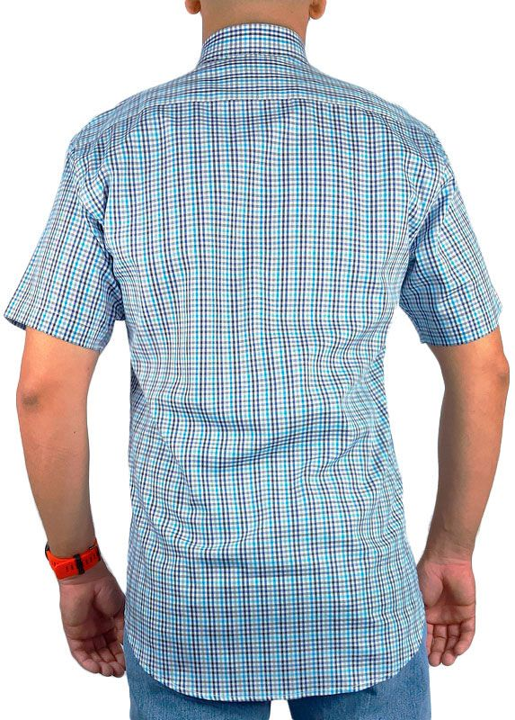 Camisa Xadrez Masculina Slim Fit Austin Western Manga Curta Azul Preto Cinza