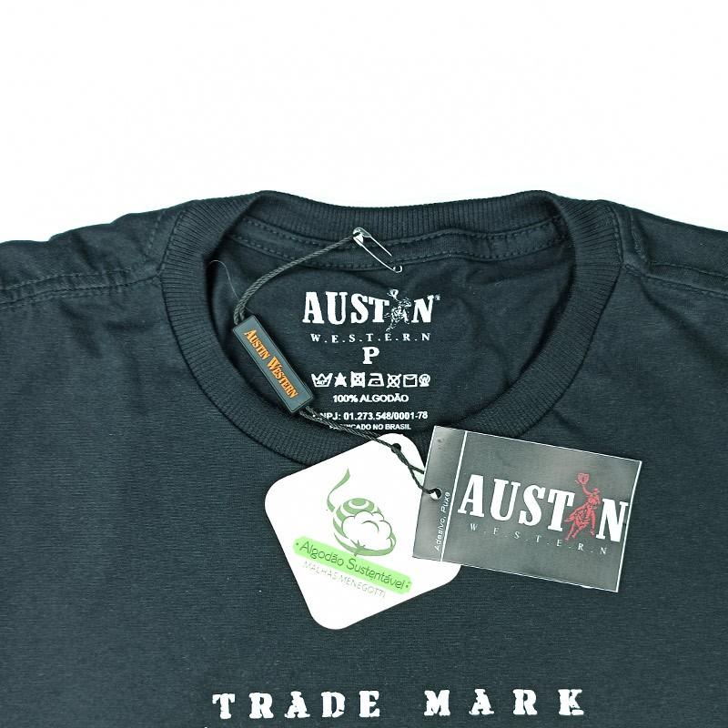 Camiseta Masculina Austin Western Preto Estampada