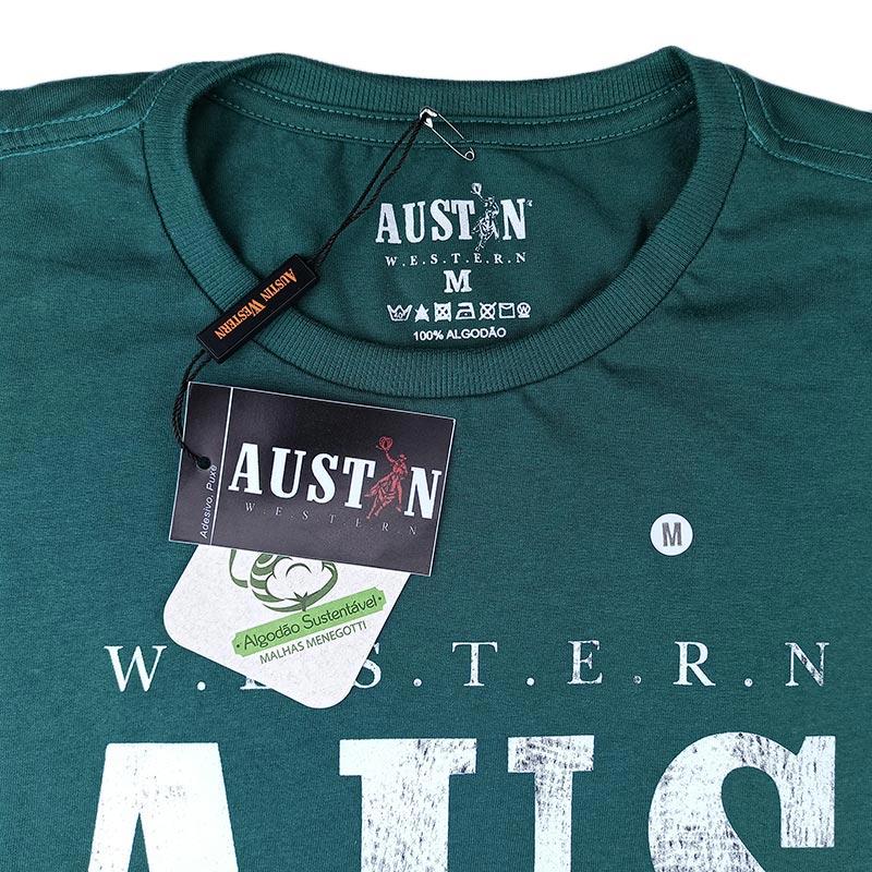 Camiseta Masculina Austin Western Verde Estampada
