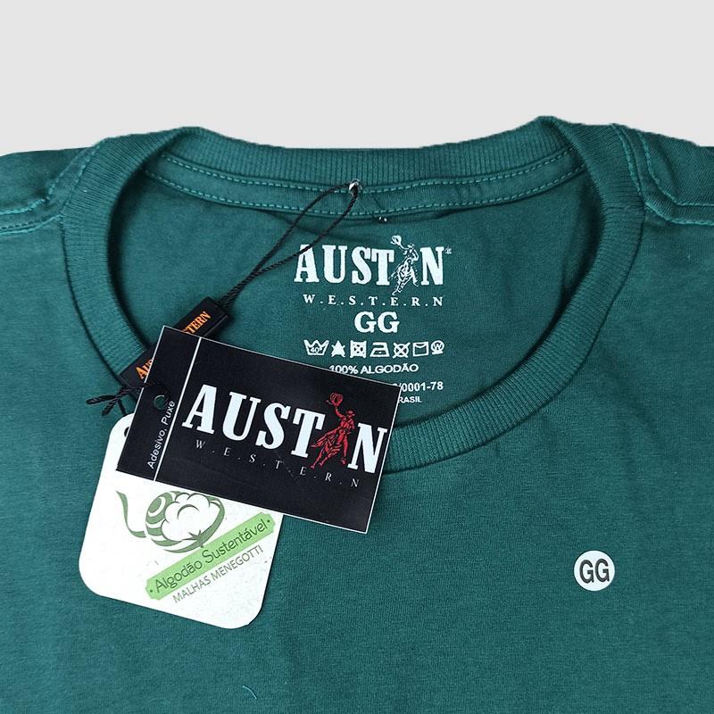 Camiseta Masculina Austin Western Verde Estampada Classic