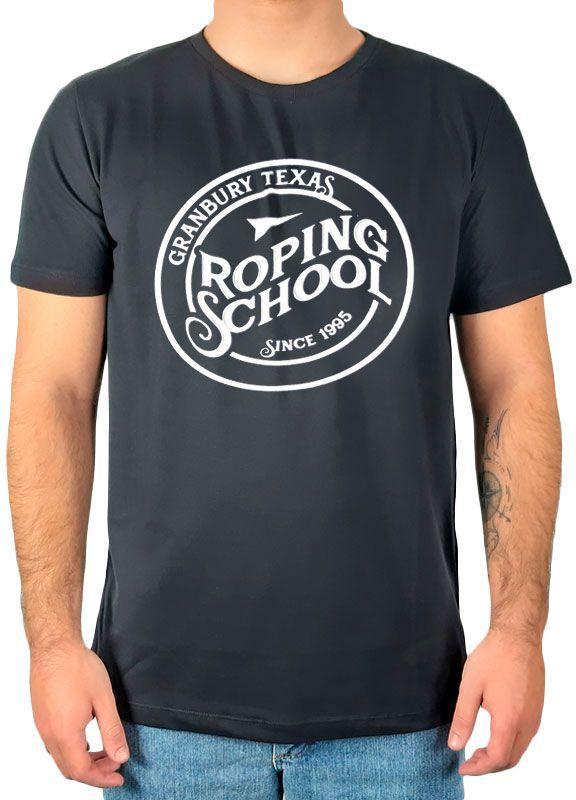 "Camiseta Masculina Fast Back Estampada ""Roping School"" Preta"