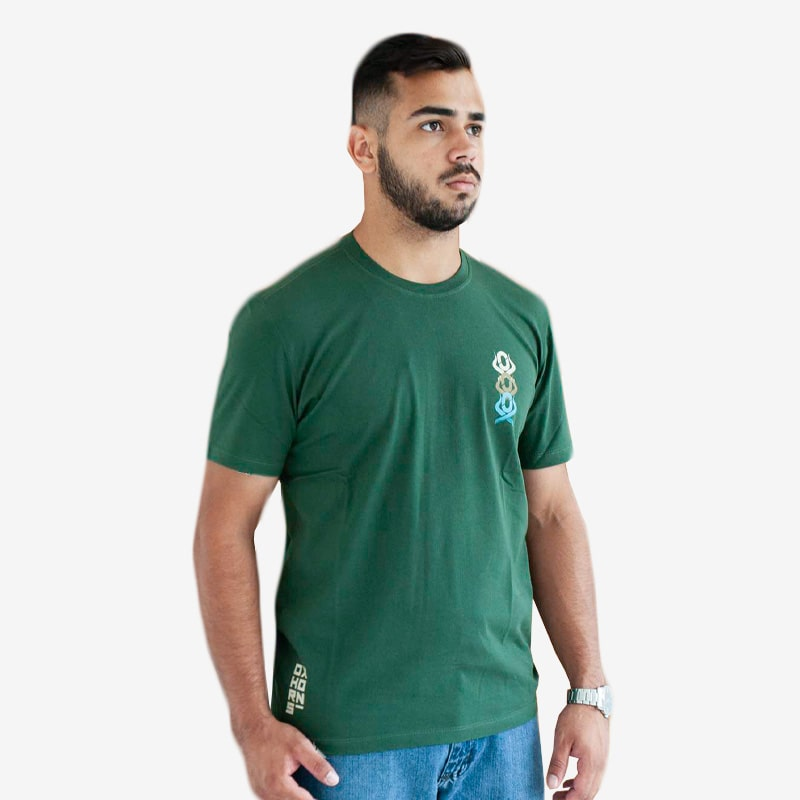 Camiseta Masculina Ox Horns Estampada Verde Musgo