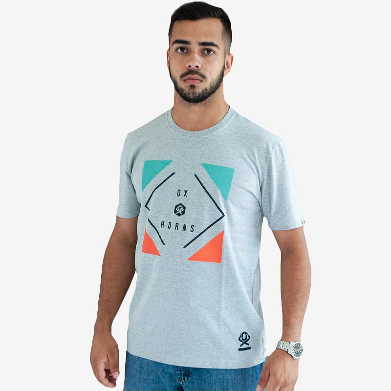 Camiseta Masculina Ox Horns Manga Curta Estampada Cinza