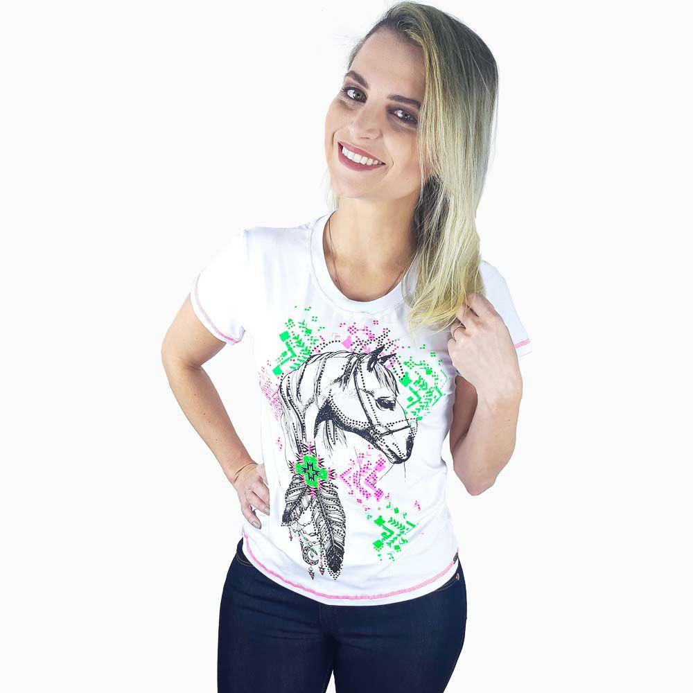 Camiseta Miss Country Feminina com Estampa de Cavalo e Strass