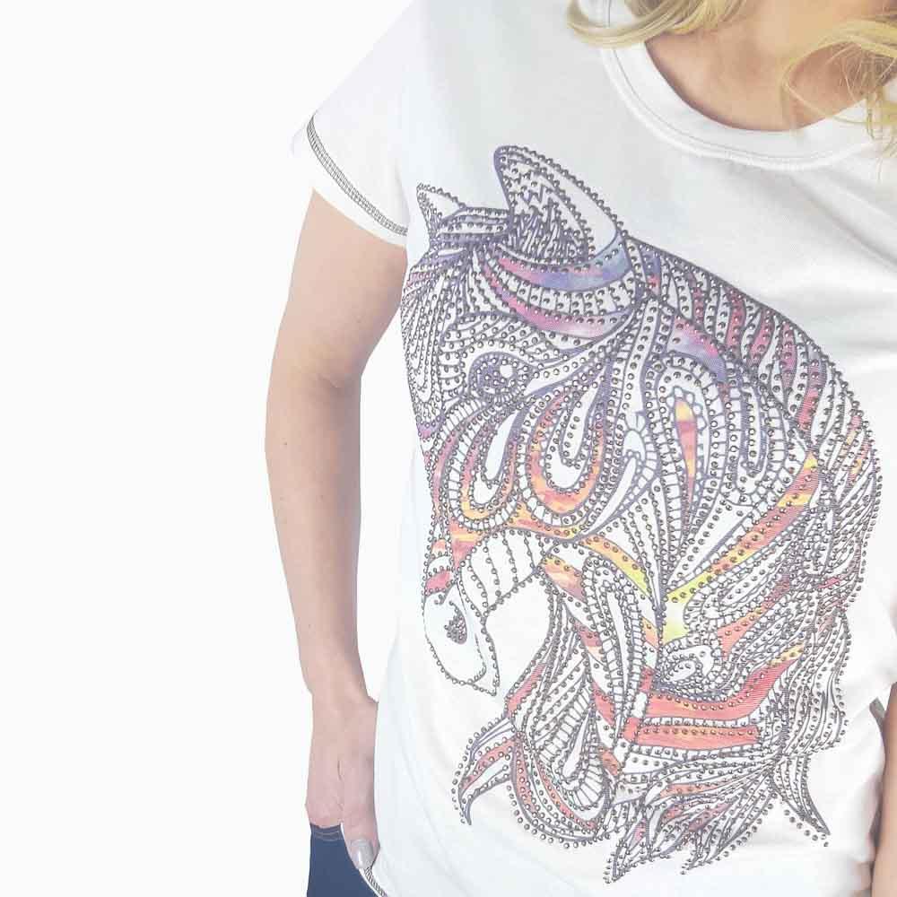 Camiseta Miss Country Feminina Desenho Cavalo com Strass