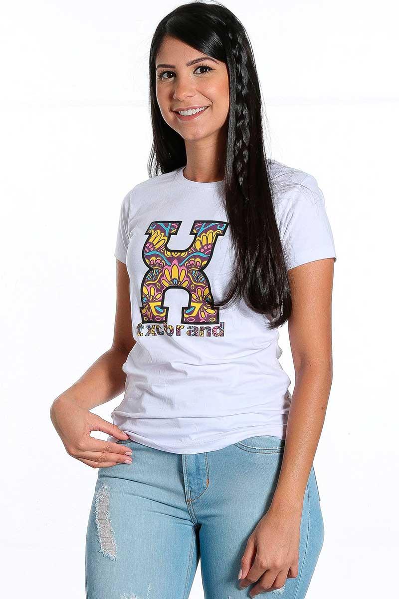 Camiseta TXC Feminina Branco Logo Emborrachada