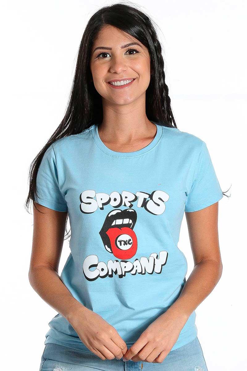 Camiseta TXC Feminina Manga Curta Azul Bebe Sports Company
