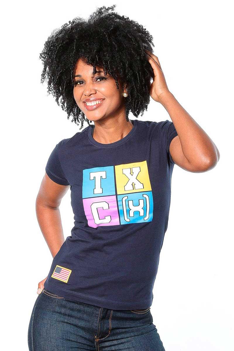 Camiseta TXC Feminina Manga Curta Azul Marinho Estampada
