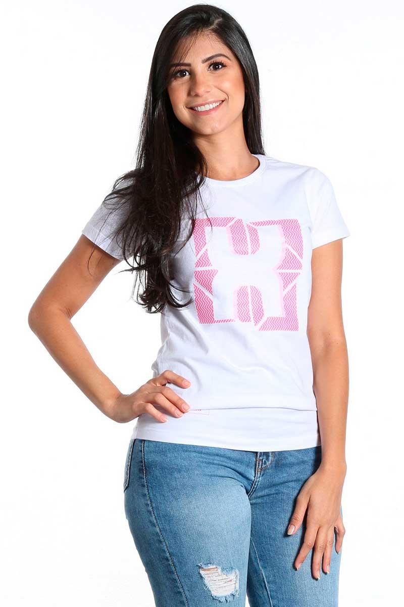 Camiseta TXC FemininA Manga Curta Branco com Desenho