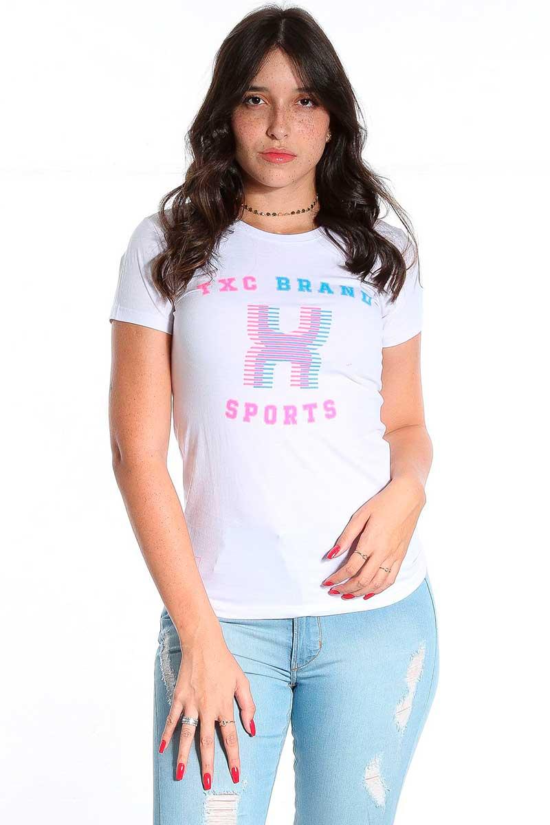 Camiseta TXC Feminina Manga Curta Branco Sports Estampada