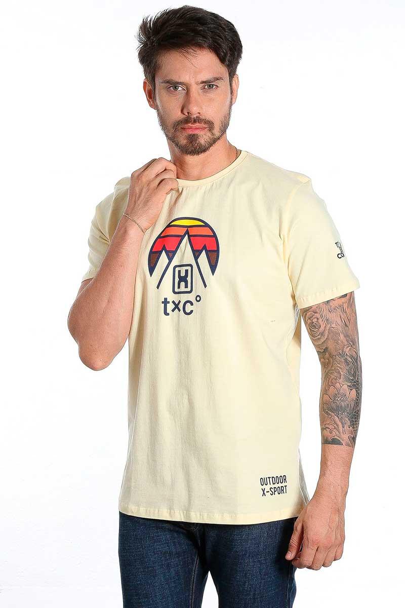 Camiseta TXC Masculina Manga Curta Amarelo Estampa Colorida