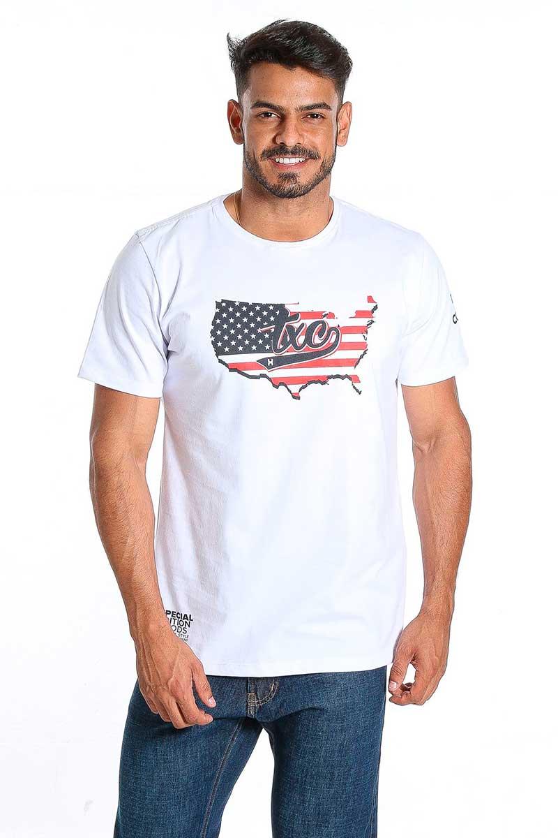 Camiseta TXC Masculina Manga Curta Branco Bandeira USA