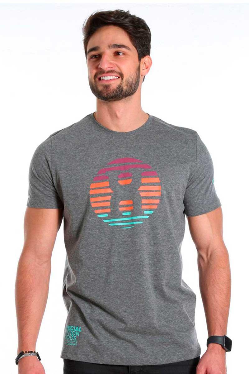 Camiseta TXC Masculina Manga Curta Cinza Médio Colorida