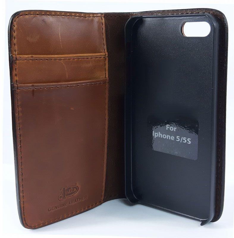 Capinha Celular Flip Iphone 5-5S em Couro Trabalhado com Cruz Justin Boots