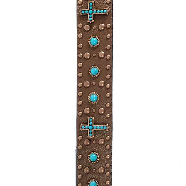 Cinto Paul Western Couro Cruz Pedra Fivela Passador Bronze