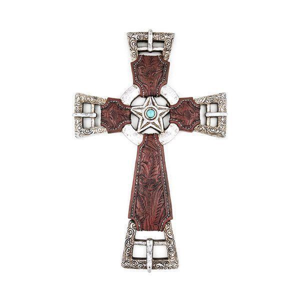 Cruz Western Decorativa de Parede Estrelas e Fivelas