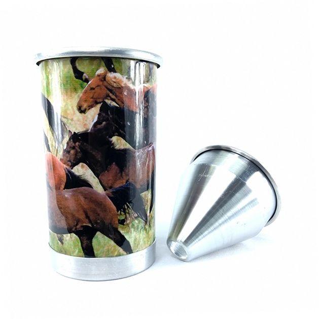 Cuspidor de Fumo Fast Back Alumínio Desenho de Cavalos
