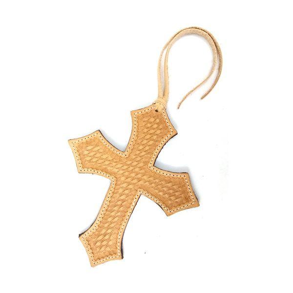 Enfeite de Sela Couro Formato Cruz de Mosaico e Costura
