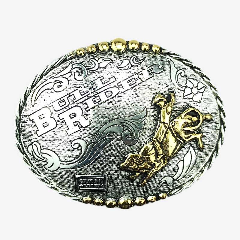 Fivela Country Masculina Master Western Prata Envelhecida Bull Rider