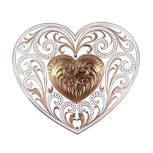 Fivela Feminina de Coração com Estampa Floral Dourado